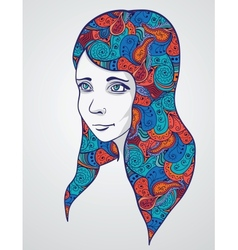 Abstract girl portrair with floral ornament vector image