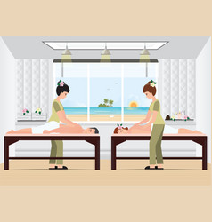 couple enjoying full body massage treatment from vector image