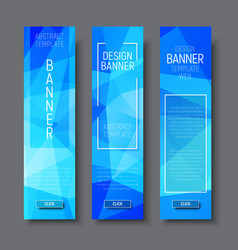 design vertical banners with polygonal blue vector image vector image