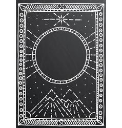 Hand drawn outline white frame on black vector image