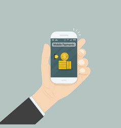 hand holding smartphone and touching screen with vector image