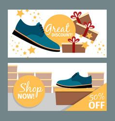 men summer blue shoe store flyers vector image
