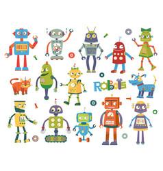 set of cartoon robots vector image vector image