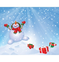Snowman gifts vector