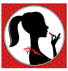 Young woman with lipstick vector image vector image