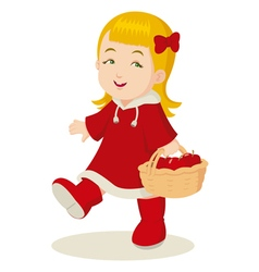 Girl With a Basket of Apples vector image vector image