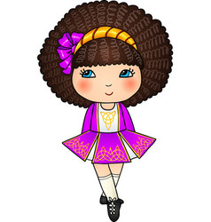 Irish dancing girl in violet traditional dress vector image