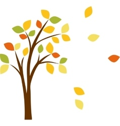 autumn tree with yellow leaves vector image