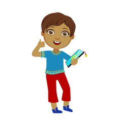 Boy holding tablet and showing thumbs up part of vector