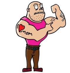 Muscly man with tattoo cartoon vector image
