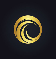 Round wave circle water gold logo vector