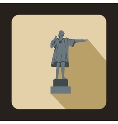 Statue of Christopher Columbus icon flat style vector image