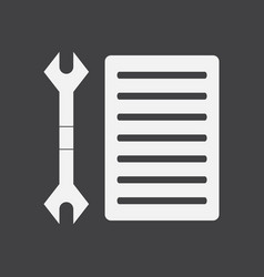 White icon on black background wrench and grille vector