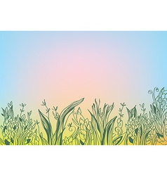 Autumn background with grass and glow vector image vector image