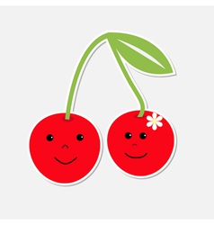 Cartoon cherries with happy faces Card vector image vector image