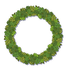 circle frame with oak green leaves isolated on vector image