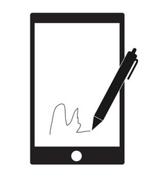 digital signature with stylus pen and mobile vector image vector image