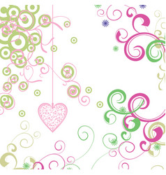 green and pink heart with florals card vector image