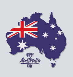 happy australia day poster with australia map with vector image