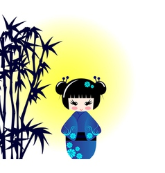 Kokeshi doll and bamboo vector image vector image