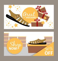 men summer shoe store flyer vector image