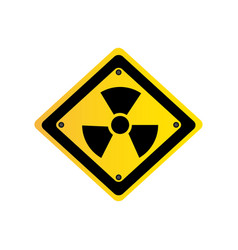 Metal emblem warning radiation sign vector