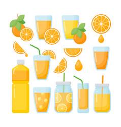 orange juice flat icons set vector image vector image