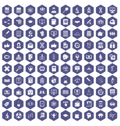 100 analytics icons hexagon purple vector