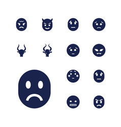 13 angry icons vector
