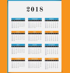 2018 year calendar vertical design vector image