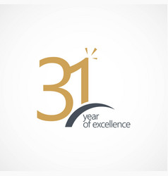 31 year excellence template design vector