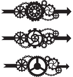 A set of three arrows with gears vector