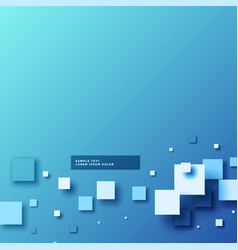 Abstract blue backgorund with 3d mosaic shapes vector