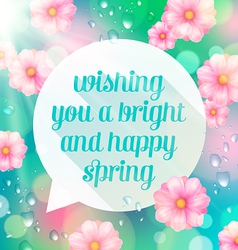 Abstract speech bubble with spring greeting vector image