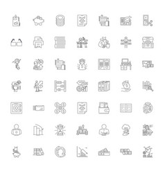 accounting business linear icons signs symbols vector image