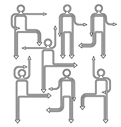 arrow people directional icons vector image