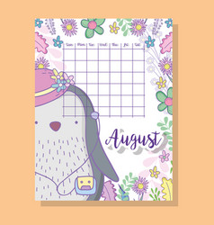 august calendar information with penguin and vector image