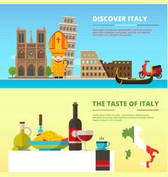 background pictures of italy banners set in flat vector image