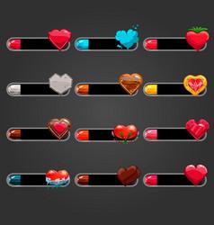 Big set bar downloader with different hearts vector