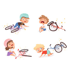 Bike accident kids fallen damaged bicycle broken vector