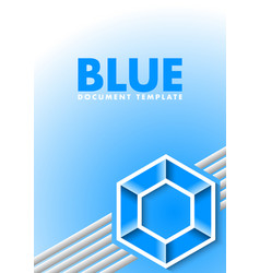 blue document template with lines and hexagonal vector image