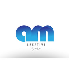 Blue gradient am a m alphabet letter logo vector