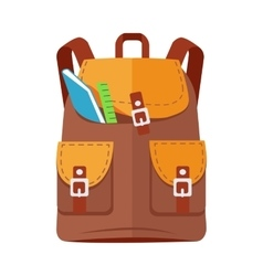Brown Backpack Schoolbag Icon with Notebook Ruler vector