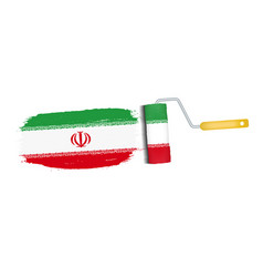 Brush stroke with iran national flag isolated on a vector