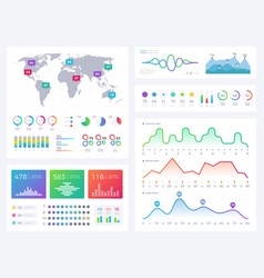 Business infographic elements flowing graphics vector