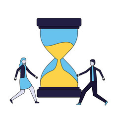 businessman and woman hourglass time vector image