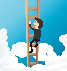 businessman climb ladder into sky concept of above vector image