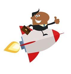 Businessman on a Sky Rocket Cartoon vector image