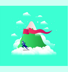 businesswoman with flag competing in the sky and vector image
