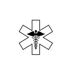 Caduceus line icon medicine and health sign vector